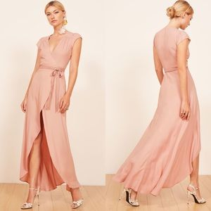 Reformation Chamomile Wrap Maxi Dress in Blush